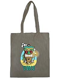 Lona de algodón bolsa de la compra con Tiki Maori Illustration impresión.