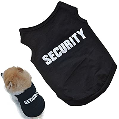 Idepet(TM) Small Dog Pet Puppy Shirts Vests Cool Cotton Black Security T-shirt Clothing Clothes for Yorkshire Puppy Poodle Teddy