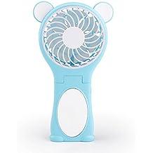YOOFAN Espejo de Oso y Mini Ventilador Plegable con Batería 18650 para Casa y Viajes, Azul