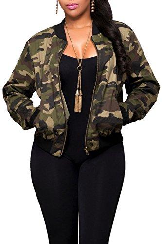 Frauen Haben Lange Ärmel Elegant Reißverschluss Bomber Für Jeans - Jacke Camouflage M