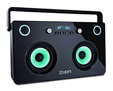 ION Audio Spectraboom Portable Bluetooth Speaker Boombox with Synchronised Multi-Colour Glow Lights, USB Power Bank and FM radio