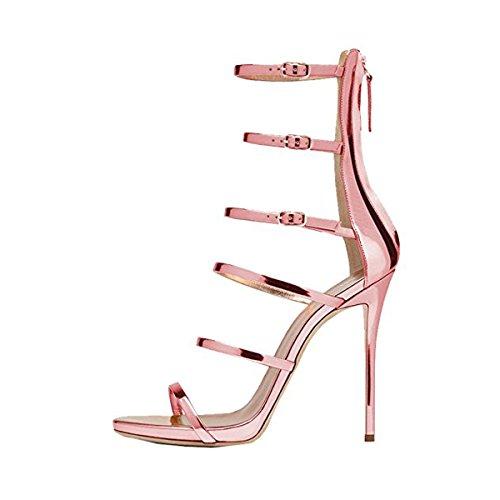 Damen R?mer Sandalen Glitzer Open Toe High-Heel Stiletto Rei?verschluss Pink