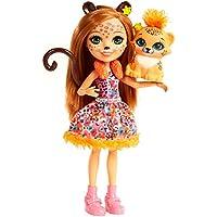 Enchantimals Mini-poupée Cherish Guépard et Figurine Animale Quick-Quick, aux cheveux châtains avec jupe à motifs en tissu, jouet enfant, FJJ20