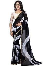 Clothfab Women's Chiffon Saree With Blouse Piece (sarees-1261_Black_Free Size)