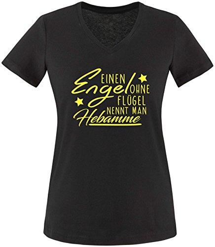 EZYshirt® Ein Engel ohne Flügel nennt man Hebamme Damen V-Neck T-Shirt Schwarz/Gelb