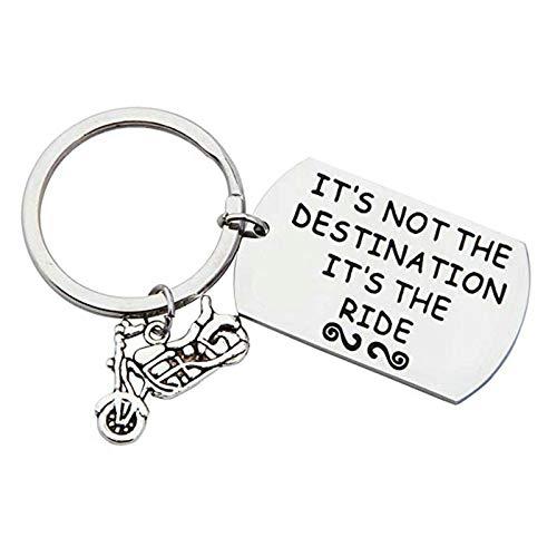 Coniea Schlüsselanhänger Gravur It's Not The Destination It's The Ride Schlüsselanhänger mit Gravur Paar Silber Schlüsselbund Edelstahl Geschenk Unisex