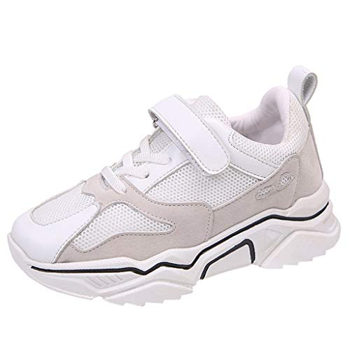 HDUFGJ Unisex-Kinder Sportschuhe Atmungsaktiv Laufschuhe Outdoor Turnschuhe Klettverschluss Sneaker Freizeit Schuhe28.5 EU(Grau)
