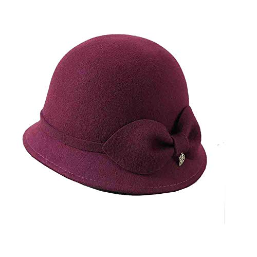 Sunny Frauen Bowler Hüte Cloche Hut Wollfilz Caps,Fischerhut Kirche Damen Melonen Glockenhut Herbst Und Winter Bowknot (Farbe : Burgundy)