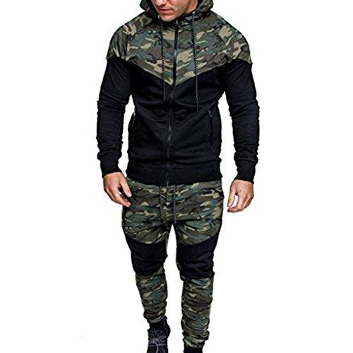 Sansee Herren Camouflage Streetwear Tops Hosen Sets Sport Anzug Trainingsanzug Jogginganzug Fitnessanzug mit Hooded (Anzug Tarnung, XXXL)