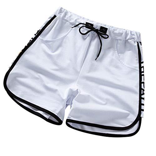 Herren Pure Color Baumwolle Mehrfach Overalls Shorts Fashion Pant New Multi Pocket Beach Shorts Black Letters THAPAYH Black White M/L/XL/2XL/3XL -
