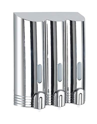WENKO 22130100 3-Kammer Seifenspender Mura chrom, Flüssigseifen-Spender Fassungsvermögen: 0,4 l, Kunststoff, 19,5 x 24 x 8 cm, chrom