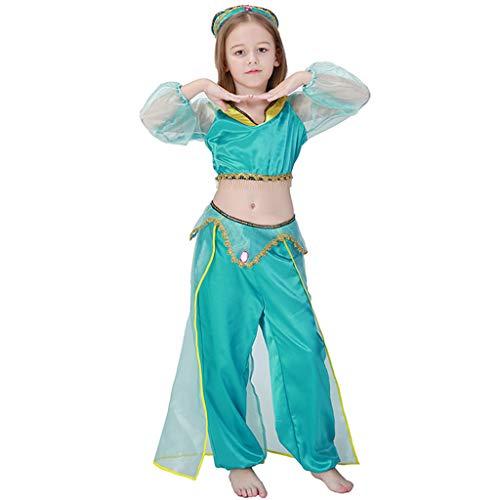 CJJC Grüne arabische Mädchen Kostüm, Kinder Tüll Bauch Indian Dance Kleidung mit goldenen Applikationen und Quaste, Cosplay Festival Party Performance verwenden - Arabische Dance Kostüm Kinder