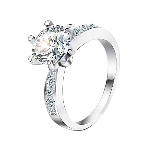 Lookhy Ringe, Exquisite Kreative Diamant Geometrie Sechs Klauen Hochzeit Schmuck Geschenk Freundschaftsringe & Partnerringe Für Frauen Mädchen Hochzeit Liebe Knoten Ring Set Strand Ozean Ring