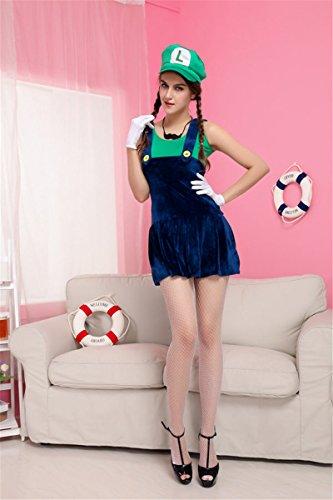 Gorgeous Super Mario Mario Kleid Trägerkleid Bekleidung (Mario Super Weiblich Kostüm)