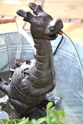 Wasserspeier Drache - lustiger stabiler Wasserspeier mit Pumpe für den Teich, Gusseisen, schwere Ausführung, Höhe 25 cm, Breite 22 cm, Tiefe 11 cm (Gusseisen-pumpe)
