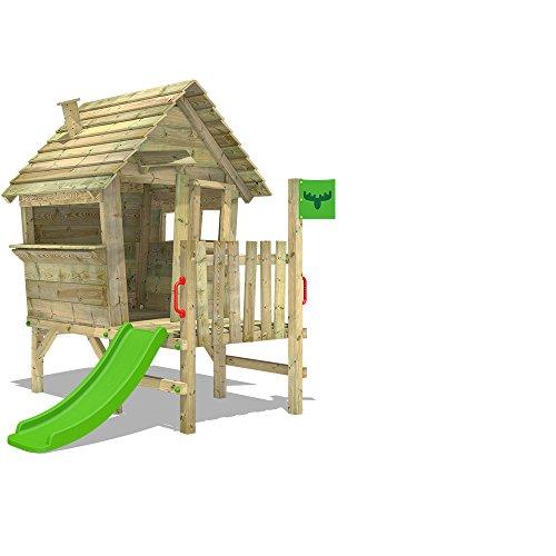 FATMOOSE Casette per bambini VanillaVilla giochi in legno da giardino con veranda e scivolo