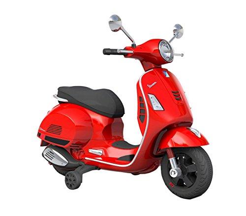 B70592 Moto eléctrica PIAGGIO para niños VESPA GTS con ruedas LED 12V - Rojo