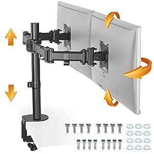 RICOO Monitor Halterung 2 Monitore, (TS5811) für 15-27 Zoll LED/LCD Schreibtisch Bildschirm Halterung, Monitor…