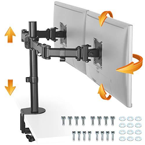 """RICOO Monitor-Halterung 2 Monitore, TS5811 Monitor-Tischhalterung, für 13\""""-27\"""" Zoll (33-69cm) Bildschirm-Halterung Schwenkbar Neigbar, Monitor-Ständer Dual Tisch-Standfuß, VESA 75x75 100x100, Schwarz"""
