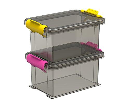 Sundis 4561002 Funcenter Boîte avec Clip Plastique Fumé 12.7 x 8.5 x 12.9 cm Lot de 2