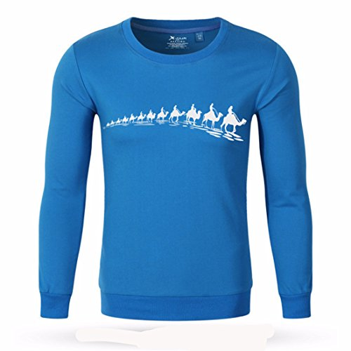 Men's Fitness Camel Gasp Cotton Long Sweatshirts blue