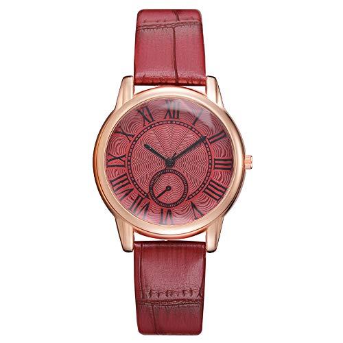 Mitlfuny Unisex Männer Frauen Mode Armbanduhren 2019,Art- und Weiseluxuriöse Damen-Leder-Nachahmungs-Muster-Quarz-analoge Armbanduhren