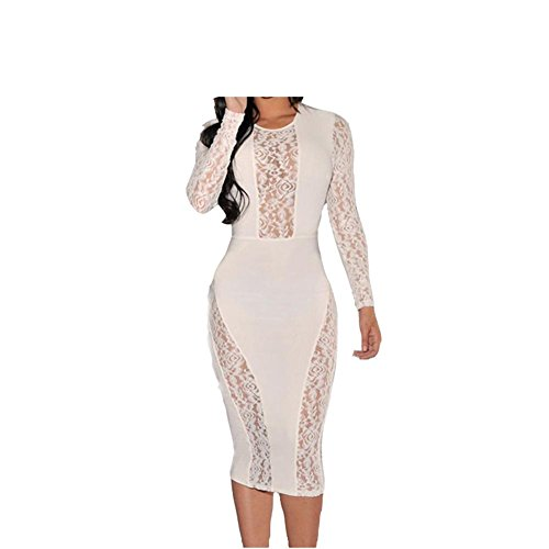 PU&PU Femmes Occasionnels / Sorties / Soirée Lace Patchwork Hollow Robe fourreau, col rond manches longues white