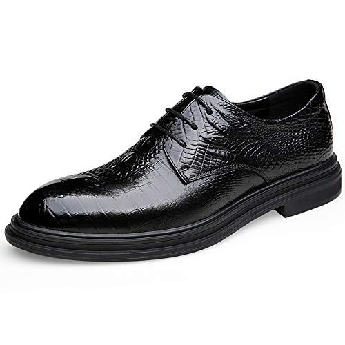 Herren Schwarz Echtes Leder Formale Derby Schuhe Klassische Lace Up Business Kleid Hochzeit Abendschuhe,Black-43