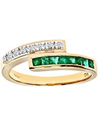 Naava Ladies 9ct Yellow Gold Diamond And Emerald Crossover Ring