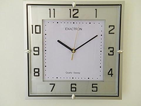 Quartz Silent Sweep Square Silver Wall Clock QS-6249-S 26cm 11