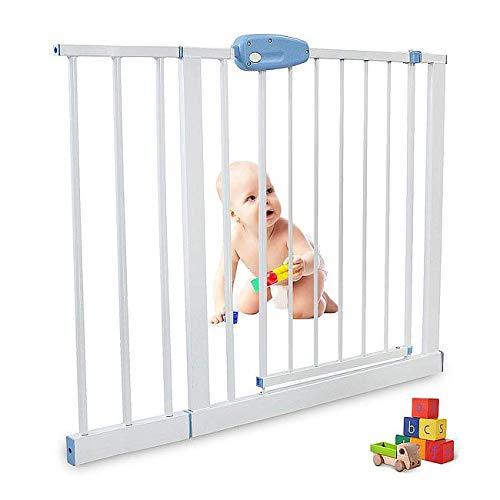 Leogreen - Puerta de Seguridad para Niños Perros Escaleras Barrera de Seguridad de metal, Extensible de 102 cm a 115 cm
