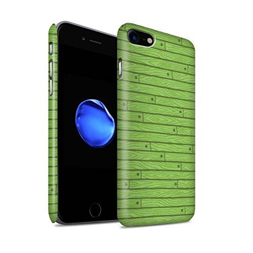 STUFF4 Matte Snap-On Hülle / Case für Apple iPhone 8 / Blau Muster / Holz-Muster Kollektion Grün