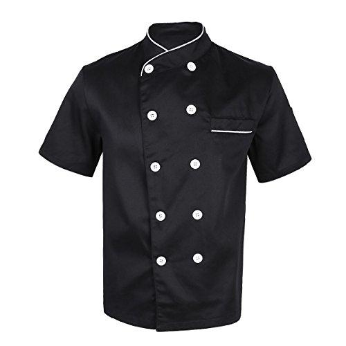 dPois Unisex Koch Kostüm Kochjacke Bäckerjacke Kurzarm Oberteile Shirt Küche Kochkleidung Uniform Berufsbekleidung mit knöpfen Küchenchef Kostüm in Schwarz Weiß Schwarz XXL