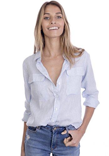 CAMIXA 100% Leinenhemd für Damen, Casual Basic Bluse mit Taschen, Loose Top L Himmel