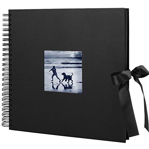 O-space - Álbum de fotos grande DIY para Pegar Álbum Scrapbooking 60 páginas negras (30 hojas)30 x 30cm-Puedes insertar tu foto en la ventana