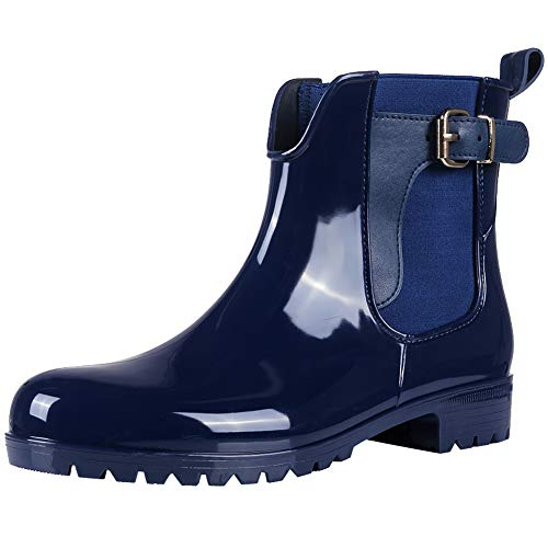 Asgard Damen Gummistiefel Regenstiefel Kurzschaft Stiefel Chelsea Boots, Blau (blau), 38 EU