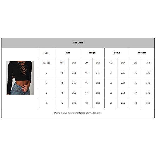 Juleya Donna Manica Lunga Camicetta - Sexy Bendare Bodycon Crop Shirt Modo Tinta Unita Manica Lunga Collo Rotondo Primavera Autunno Skinny Camicetta Pullover S-XL Grigio