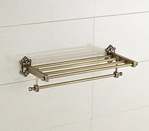 MangeooBadetuch frame, Schwarz Bronze, antik Kupfer square geschnitzten Block, doppelter Handtuchhalter, auf gefälschte etwas Antiken - Bronze Badetuch