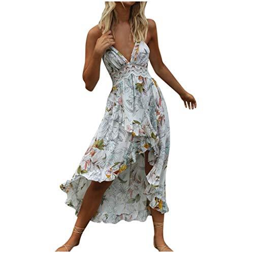 Dasongff Tief V-Ausschnitt Sling Strandkleider High Waist Rrückenfrei Sommerkleid Festlich Party Kleider Clubwear Unregelmässiges Unregelmässiges Blüte Drucken Spitzenkleid Cocktailkleid