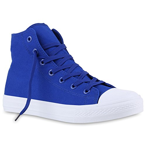 Herren Schuhe Sneakers | Sneaker High Denim | Turnschuhe Camouflage | Stoffschuhe Schnürer Blau Total