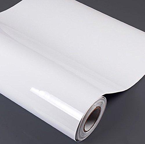 Papel adhesivo de vinilo brillante y resistente al agua, para cubrir encimeras, armarios y muebles (61cmx500cm, blanco perla)