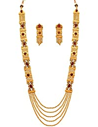 JFL - Traditional And Ethnic One Gram Gold Plated Red Stones & Diamonds Designer Long Necklace Set With Earring...