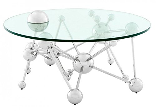 Casa Padrino Luxus Couchtisch Edelstahl / Glas Nickel Finish Astronomy - Art Deco Wohnzimmer Tisch