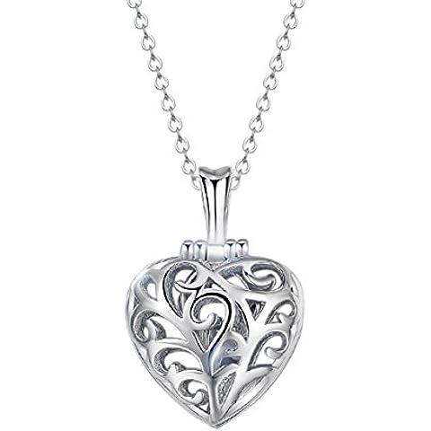 FANSING Joyería Plata de Ley 925 Blanco Zirconia Corazón Amor Mujer Niñas Collares Pendientes