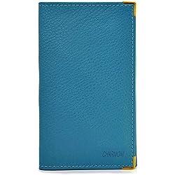 Charmoni® - Pacey Etui Porte chéquier Porte Carte crédit pièce d'identité en Cuir véritable grainé Turquoise