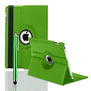FullDream iPad 3 iPad 3rd Generation & New iPad 4 4th Generation & iPad 2 360 Rotating Leather Stand Cover Case With Magnetic Auto Sleep Wake, Including Screen Protector and Stylus Pen (Green)
