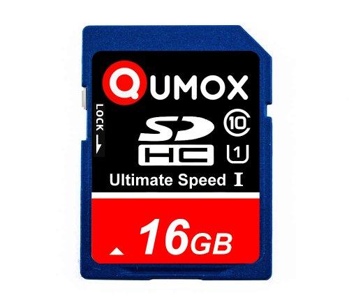 QUMOX 16GB SD HC 16 GB SDHC Class 10 UHS-I Secure Digital Speicherkarte HighSpeed Write Speed 20MB/s Read Speed Upto 80MB/s