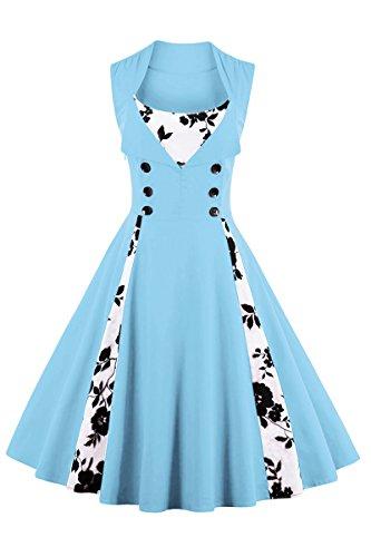 YMING Damen SommerkleidÄrmellose Partykleid Midi Kleid Blumendruck Partykleid Ärmellos Vintage Kleid,Hellblau,XL / DE 42-44 (1920er Jahre Frauen Schuhe)