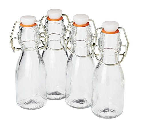 Flasche Schnaps Glas (4er-Set VBS Mini-Bügelflaschen 100ml 0,1 Liter Glasflaschen mit Bügelverschluß Saftflasche Schnapsflasche Essig Öl Likörflasche selbstbefüllen Glas klar zum einfüllen)