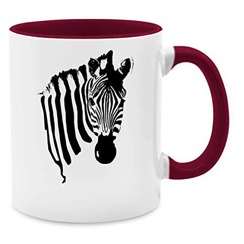 Statement Tasse - Zebra - Unisize - Bordeauxrot - Q9061 - Kaffee-Tasse inkl. Geschenk-Verpackung